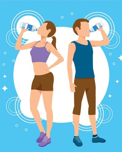 An illustration of two person drinking water to keep the body healthy