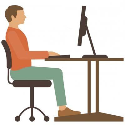 An illustration showing proper sitting posture
