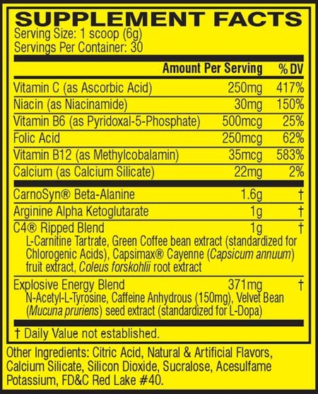 An image showing supplement facts of C4 Ripped