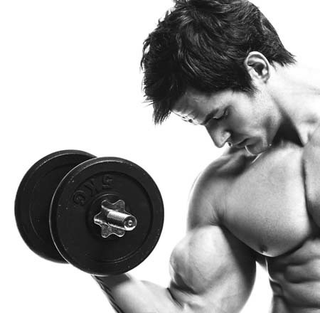 An image of a man pumping his bicep with a dumbell