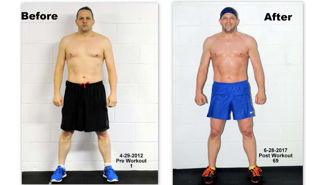 An image showing 60 days results of a man from insanity workout