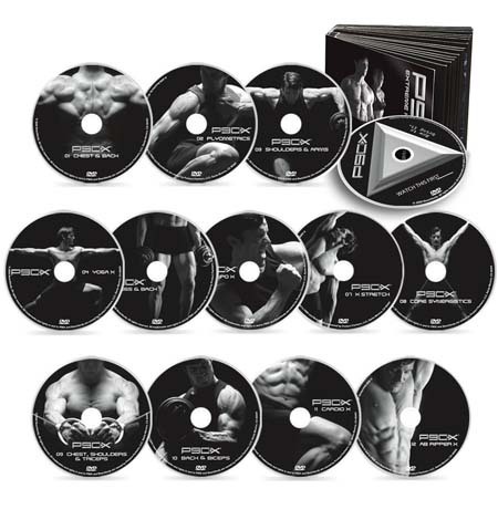 An image showing DVD collection of P90X workout
