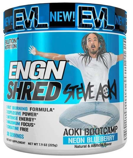 A large image of Evlution Nutrition ENGN Shred in Neon Blueberry flavor