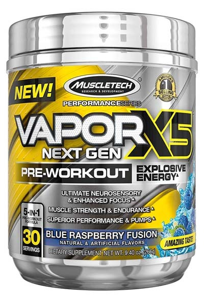 An image of MuscleTech Vapor X5 in Blue Raspberry Fusion Flavor.