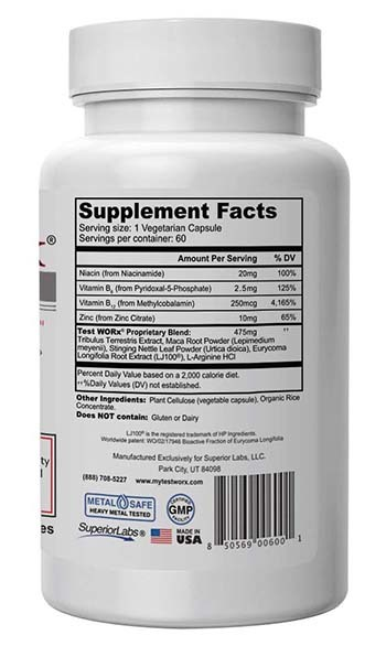 An image of TEST WORx Supplement Facts