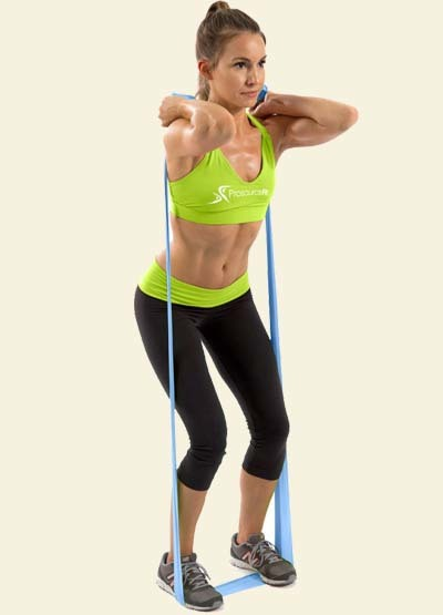 An image of a girl doing resistance training with bands