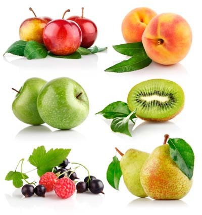 An image of berries, apple, peach, cherries, avocado