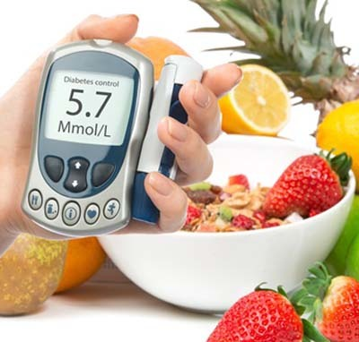 An image of diabetes device with different types fruits and vegetables