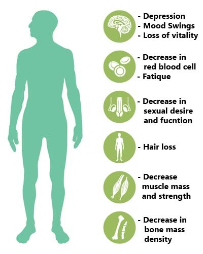 An image showing symptoms of low testosterone in male body