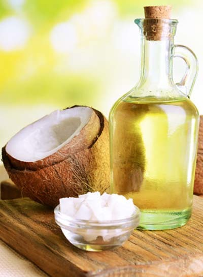 An image of MCT oil bottle with coconut